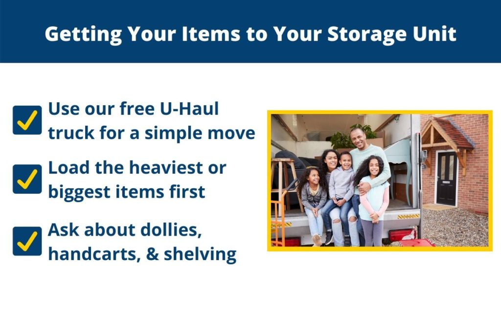 Use a u-haul, load the heaviest items first, and ask about dollies